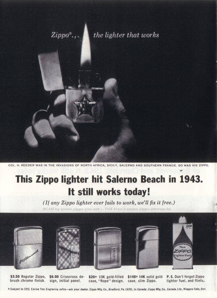 Catalogue Zippo publicitaire de 1958 - 1967 5612