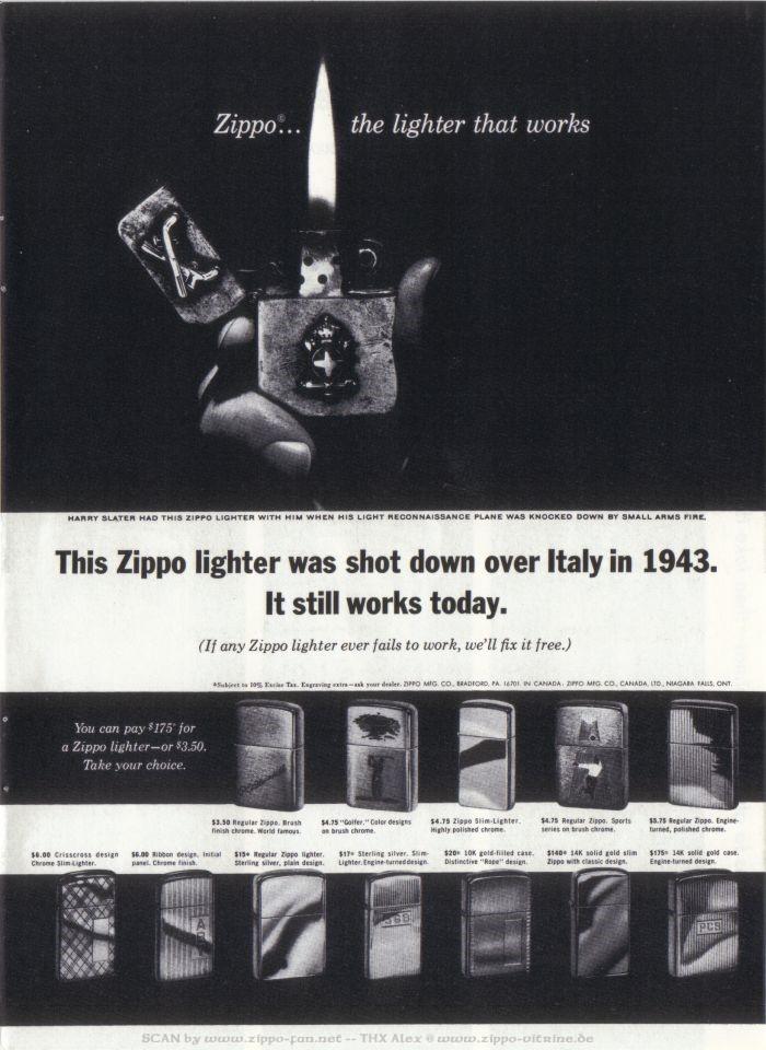 Catalogue Zippo publicitaire de 1958 - 1967 5712