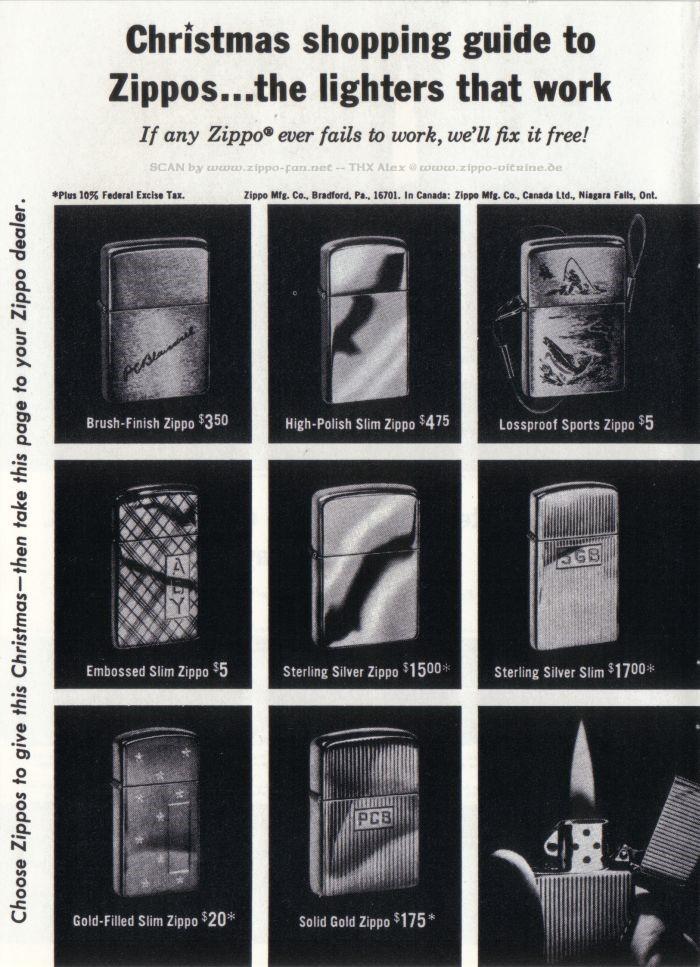 Catalogue Zippo publicitaire de 1958 - 1967 5812