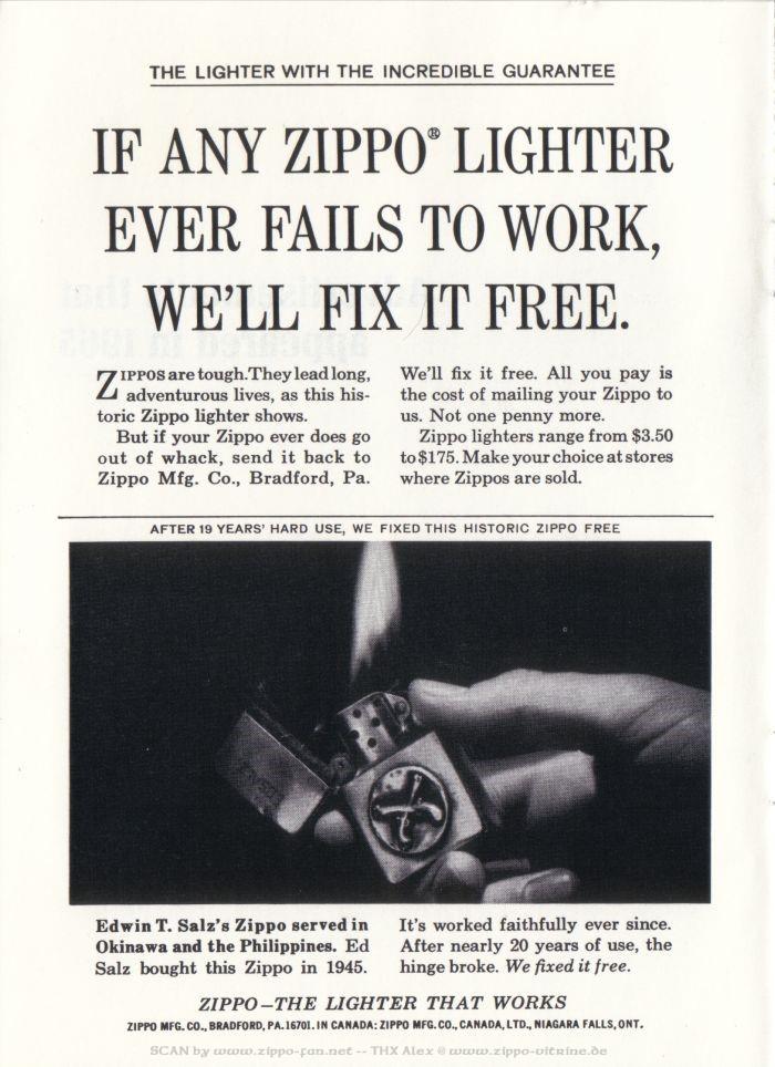 Catalogue Zippo publicitaire de 1958 - 1967 6011