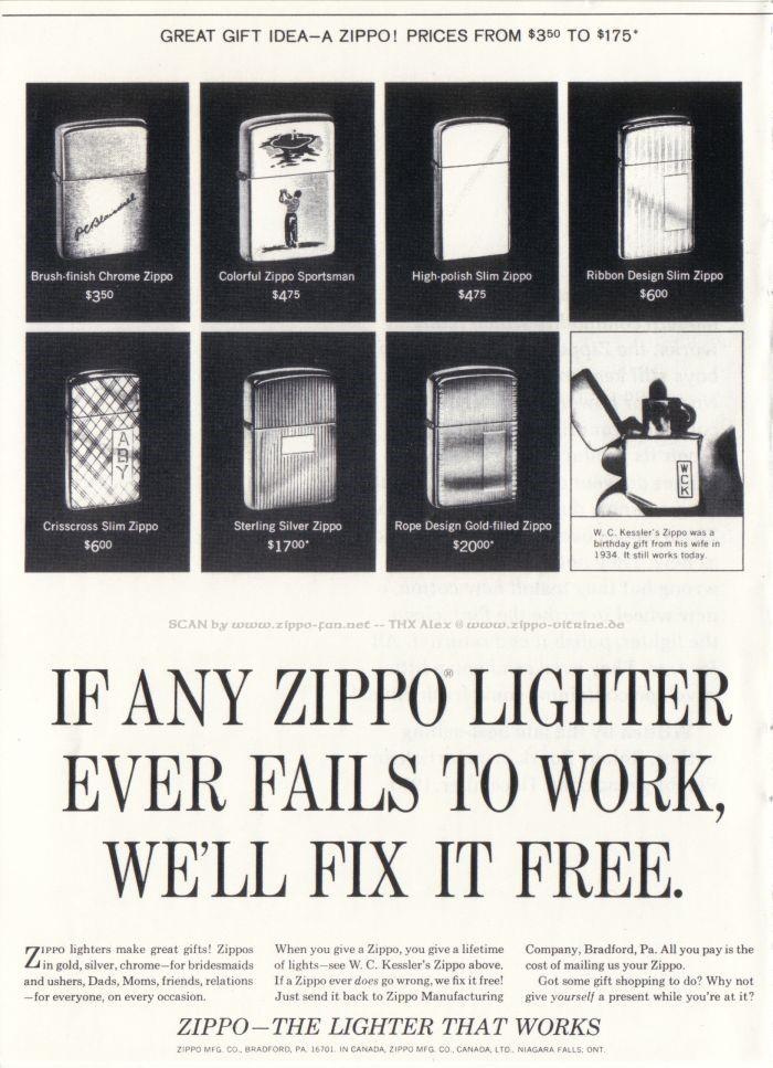 Catalogue Zippo publicitaire de 1958 - 1967 6211