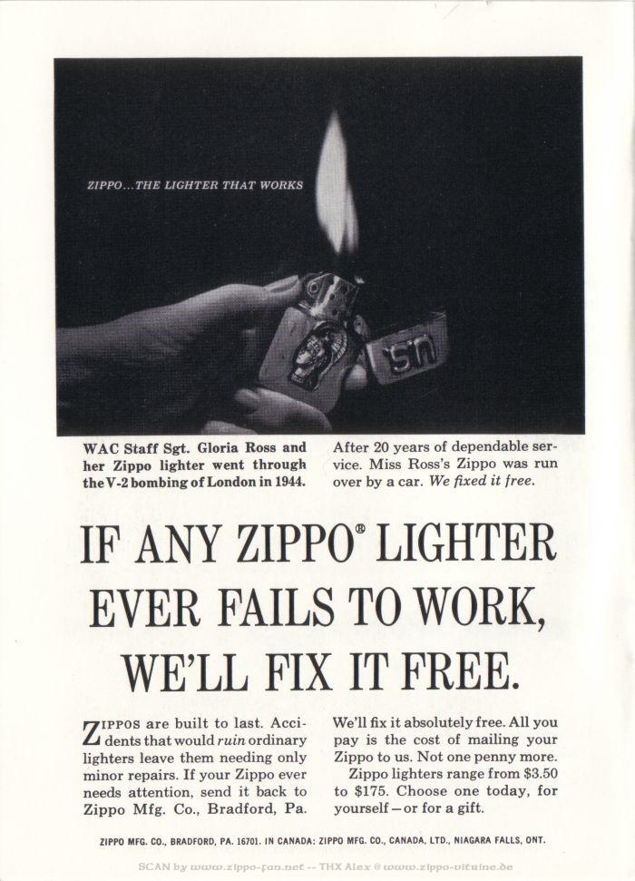 Catalogue Zippo publicitaire de 1958 - 1967 6412