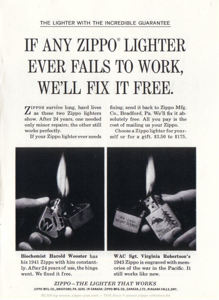 Catalogue Zippo publicitaire de 1958 - 1967 6511
