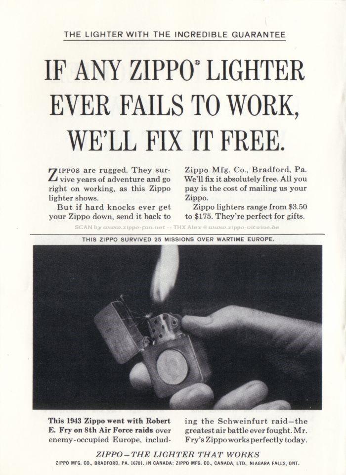 Catalogue Zippo publicitaire de 1958 - 1967 6611