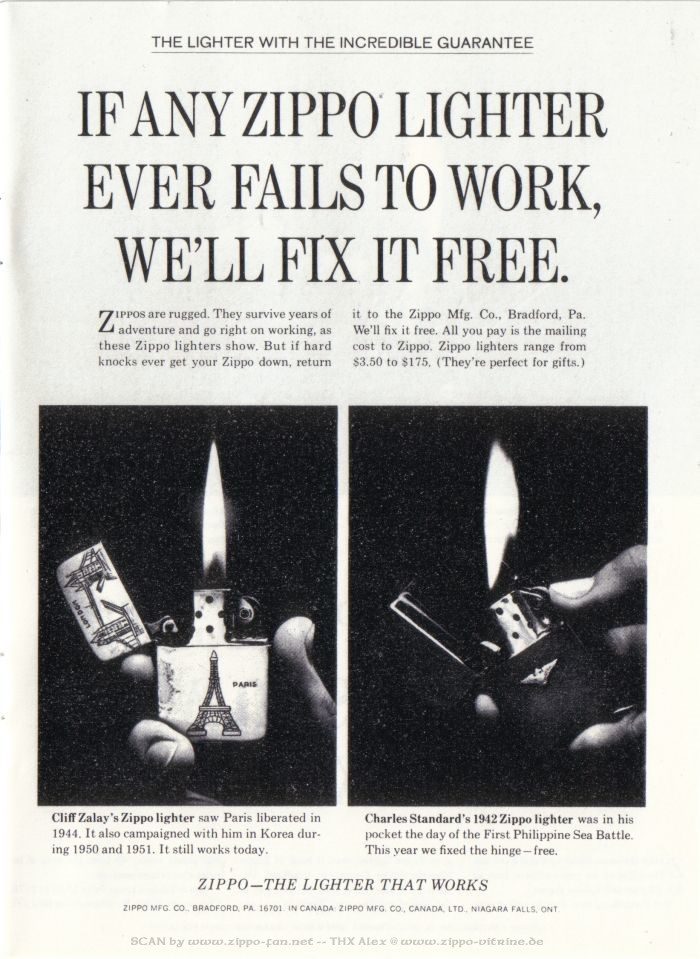 Catalogue Zippo publicitaire de 1958 - 1967 6711
