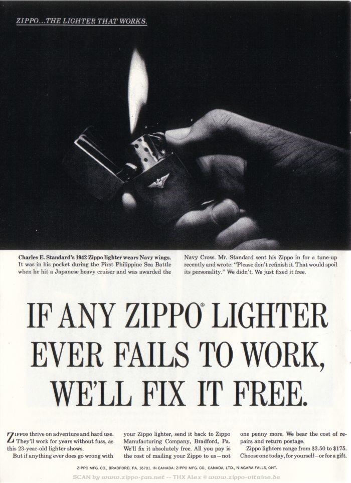Catalogue Zippo publicitaire de 1958 - 1967 6811