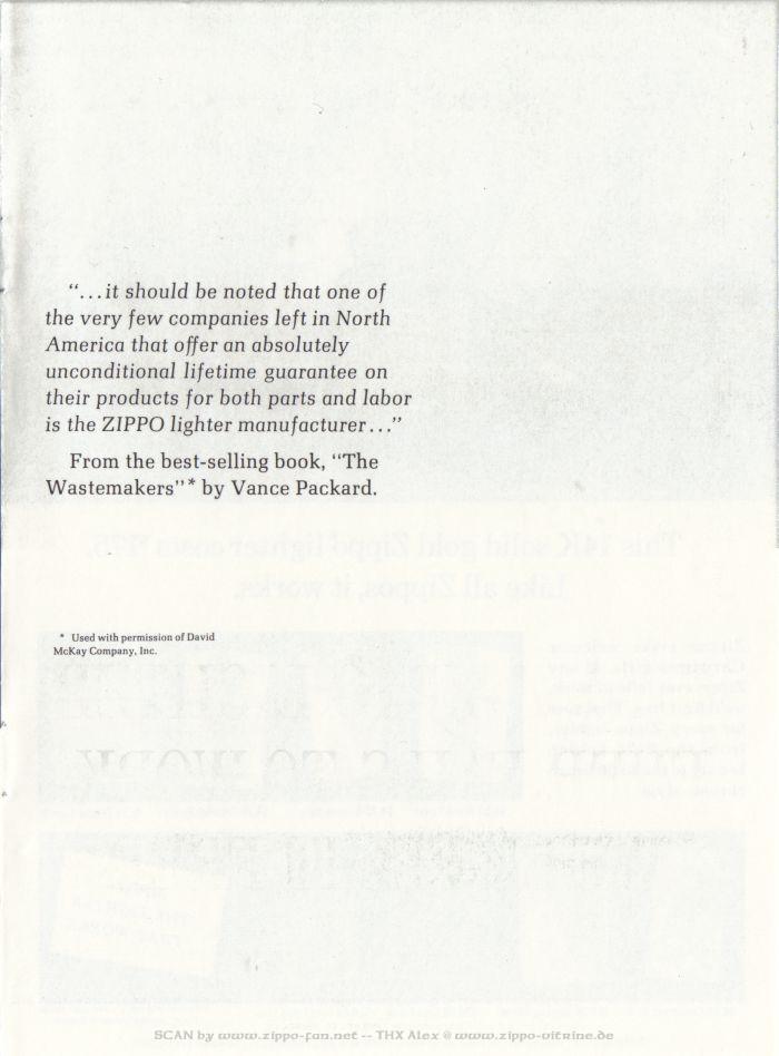 Catalogue Zippo publicitaire de 1958 - 1967 6911