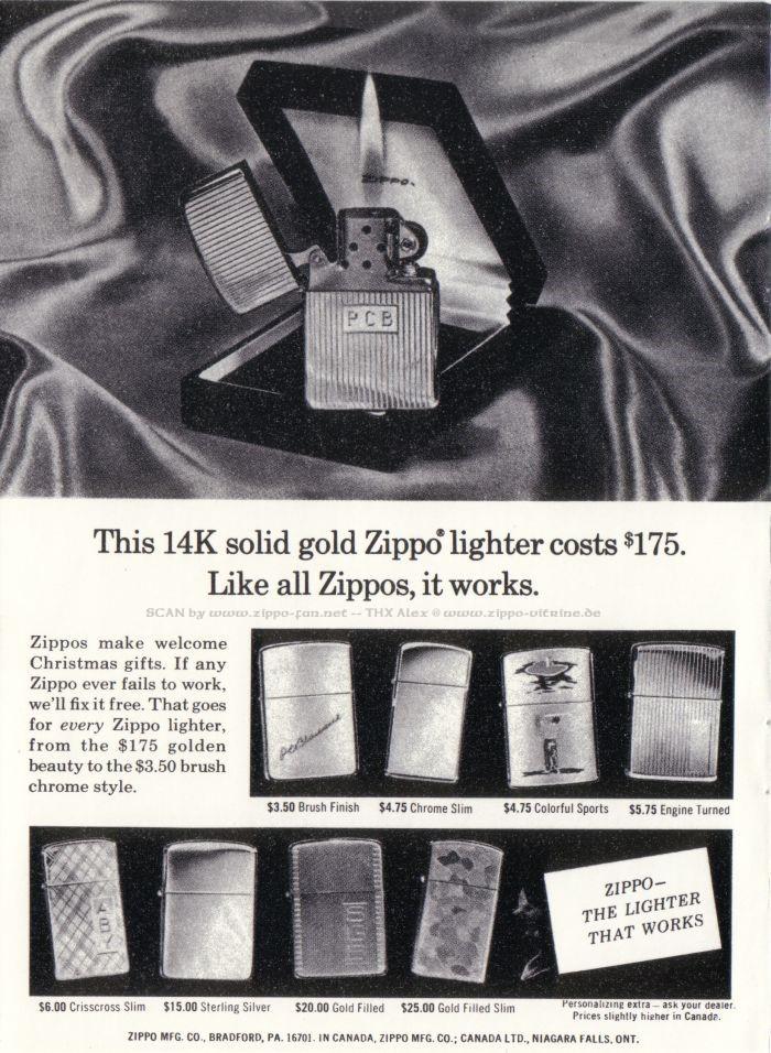 Catalogue Zippo publicitaire de 1958 - 1967 7011