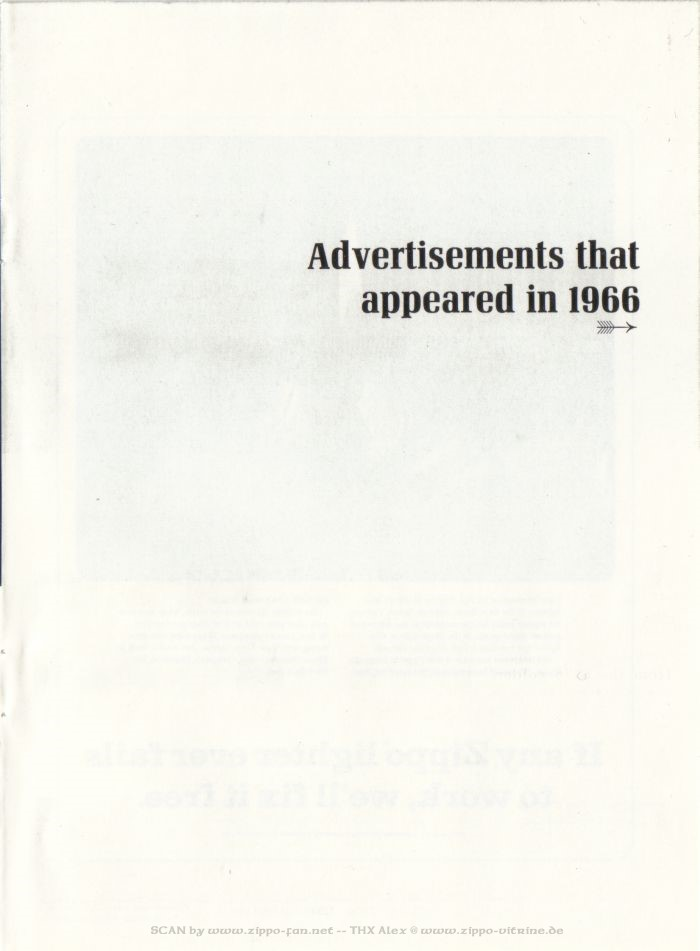 Catalogue Zippo publicitaire de 1958 - 1967 7111