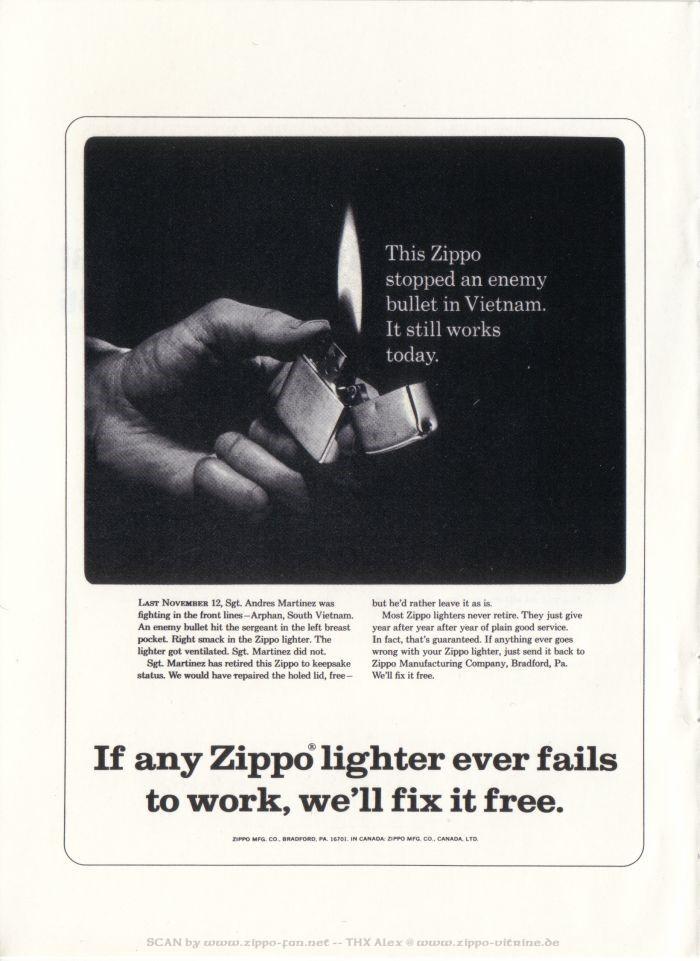 Catalogue Zippo publicitaire de 1958 - 1967 7211