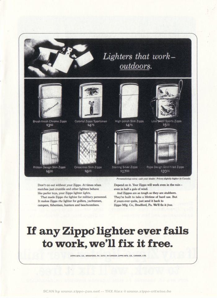 Catalogue Zippo publicitaire de 1958 - 1967 7312