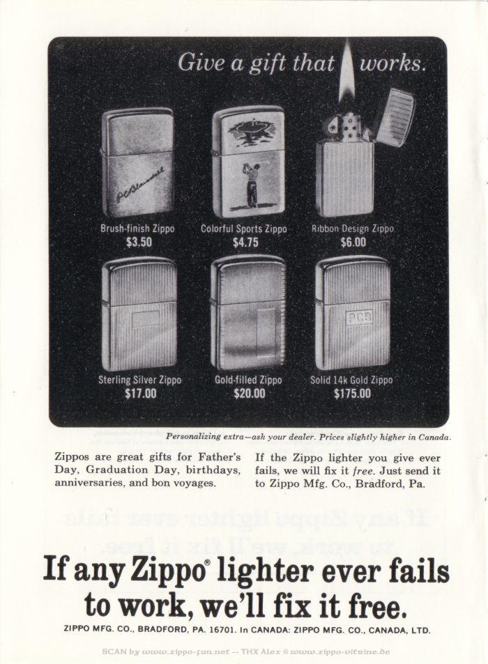 Catalogue Zippo publicitaire de 1958 - 1967 7411