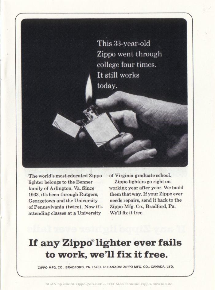 Catalogue Zippo publicitaire de 1958 - 1967 7512