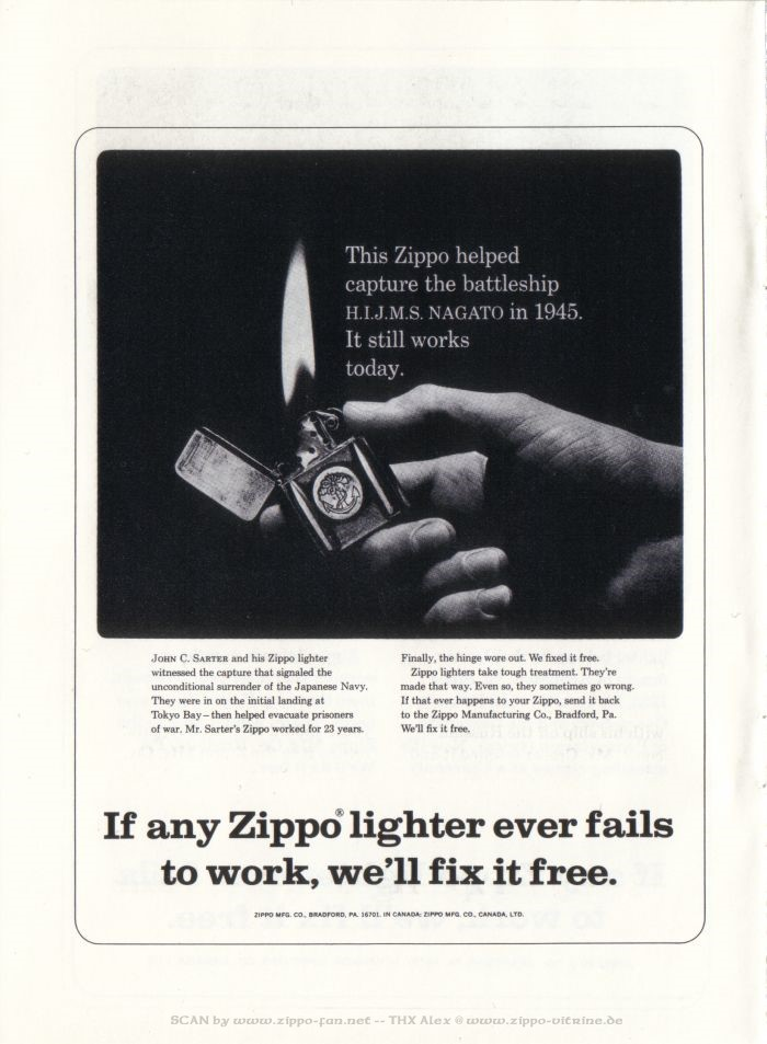 Catalogue Zippo publicitaire de 1958 - 1967 7611