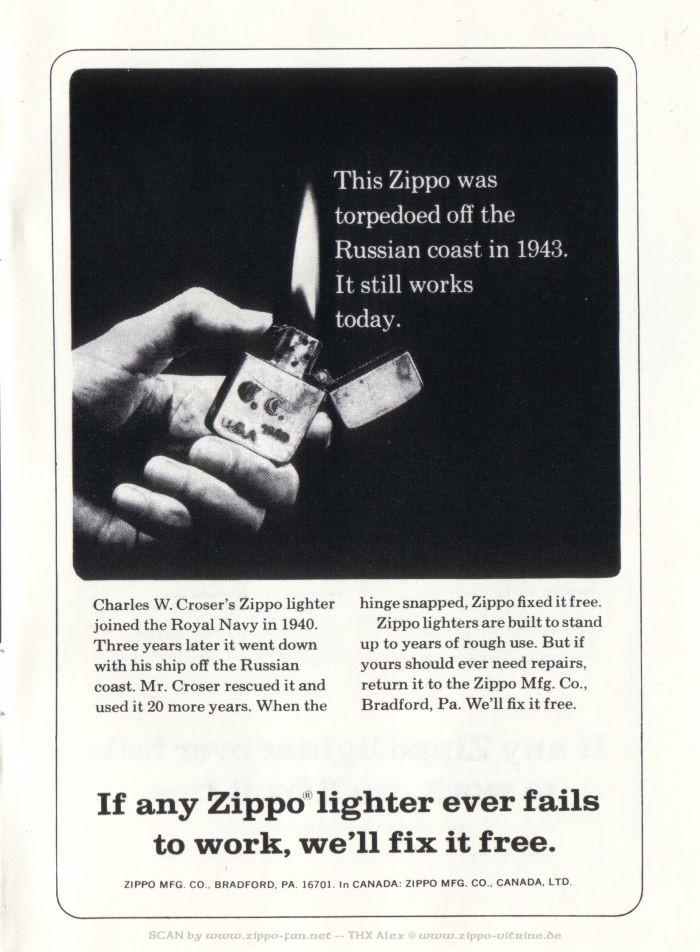 Catalogue Zippo publicitaire de 1958 - 1967 7711