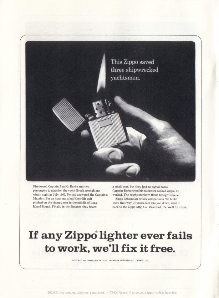Catalogue Zippo publicitaire de 1958 - 1967 7811