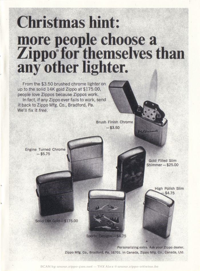 Catalogue Zippo publicitaire de 1958 - 1967 7911