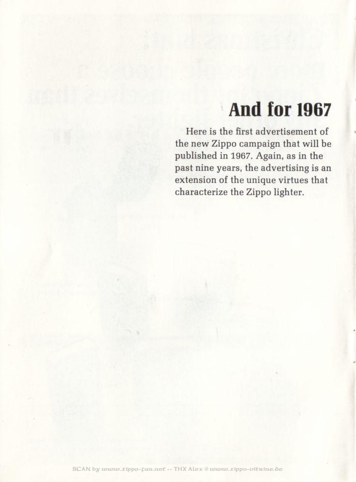 Catalogue Zippo publicitaire de 1958 - 1967 8011
