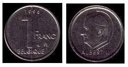 billets et pieces de belgique 1fb210
