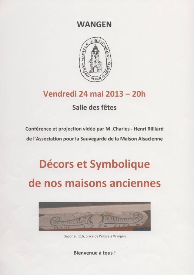 Conférence sur les décors et la symbolique de nos maisons anciennes vendredi 24 mai 2013 , salle des fêtes de Wangen Image110