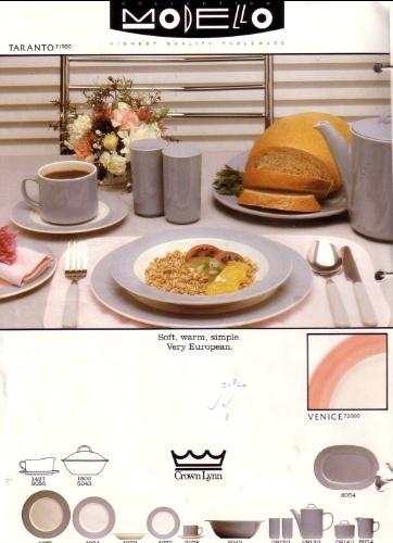 Modello - Taranto Crown Lynn modello Tableware  Tarant10