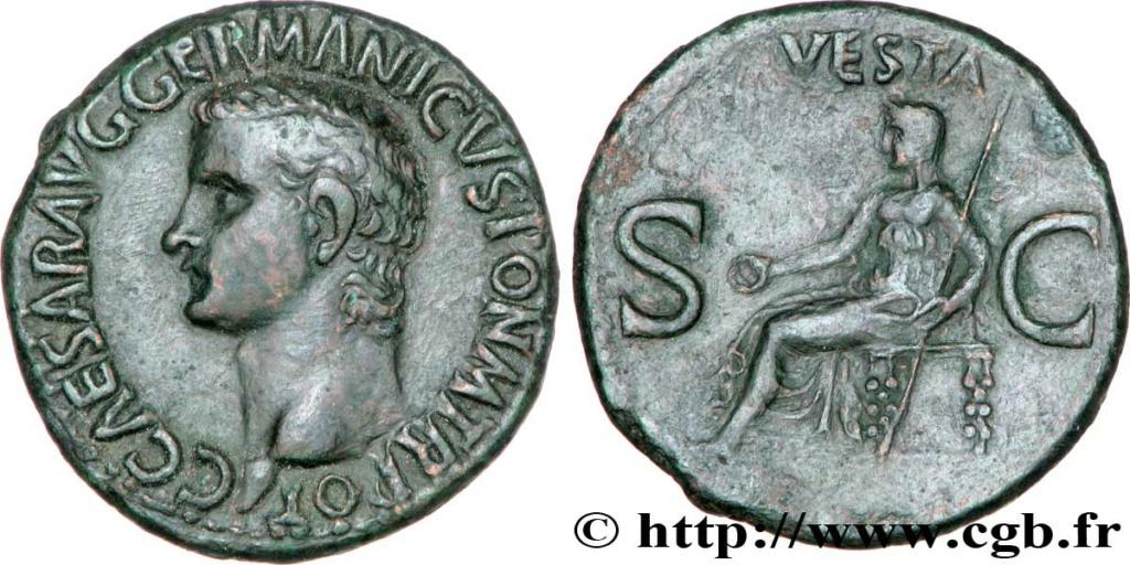 As de Calígula. VESTA - S C. Vesta sedente a izq. Roma. V57_0210