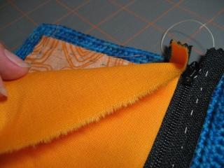 Cách may dây kéo vào ví (giỏ, túi) móc Lining11