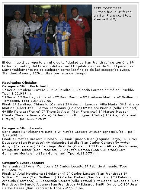 Exitosa la 8 fecha de karting en sanfracisco Arengitna Argent10