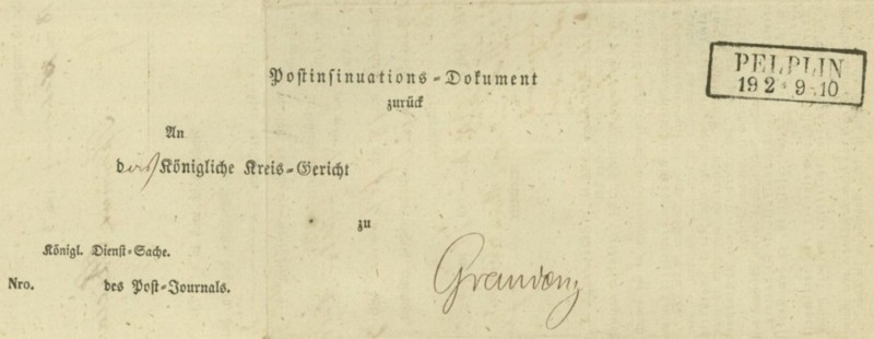 Markenlose Briefe vor 1920 (ohne Feldpost) Pelpli11