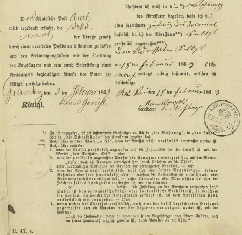 Markenlose Briefe vor 1920 (ohne Feldpost) Pelpli15