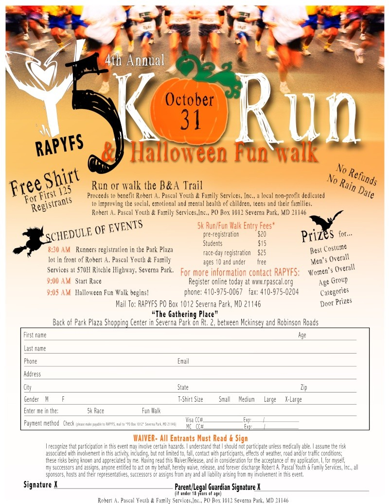 5K fun walk to benefit RAPYFS October 31st Newfly10