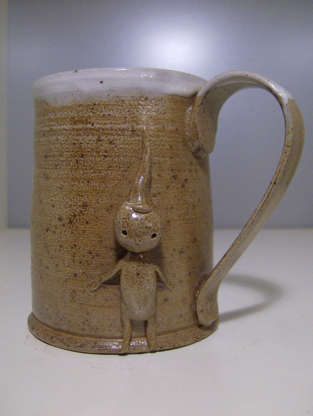 Salt Glaze Mug with pixie figure, Atkin  Hpim4516