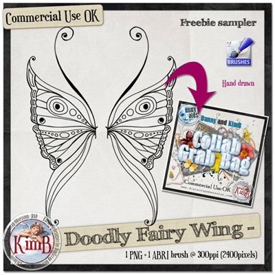 Doodled Fairy wing- By Kim B this includes the PNG and the ABR brush for you to use ;-) Kb-doo10