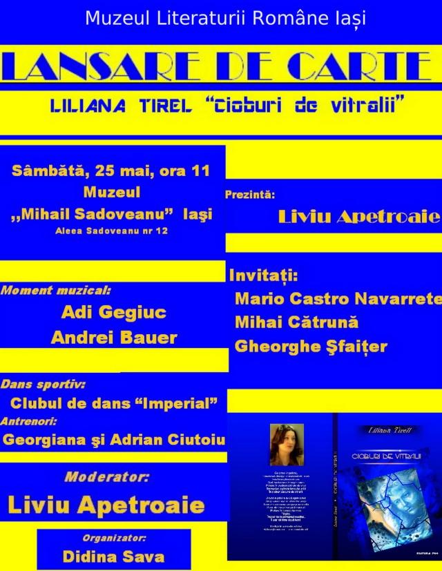 """Lansare de carte- """"Cioburi de vitralii""""- Liliana Tirel- 25 mai 2013 Afis_t11"""