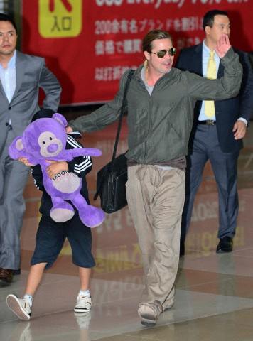 Brad and Pax arrive at Gimpo Airport..Seoul, South Korea, June 11th 2013 00002018