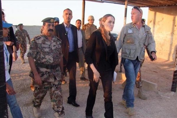 Angelina meeting with Refugees at the Jaber Border Crossing in Jordan..June 18th 2013 000028