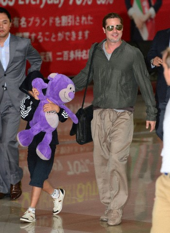 Brad and Pax arrive at Gimpo Airport..Seoul, South Korea, June 11th 2013 00020211