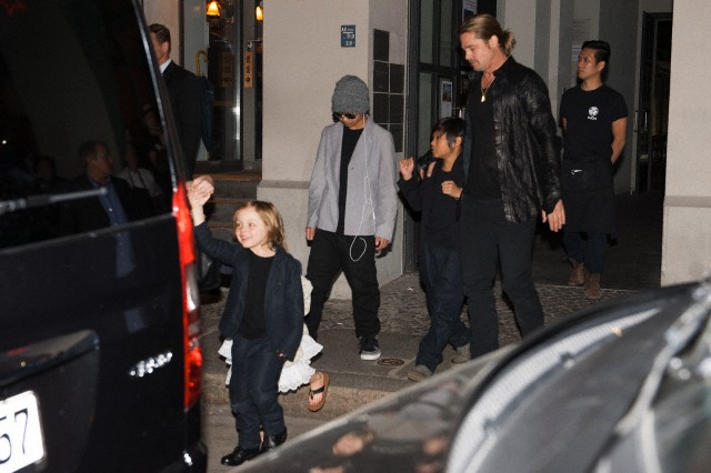 Brad, Angelina and Kids Dine at Kuchi Restaurant, Berlin,Germany..June 4th 2013 00112