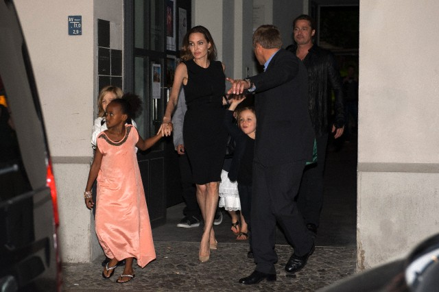 Brad, Angelina and Kids Dine at Kuchi Restaurant, Berlin,Germany..June 4th 2013 001_co13