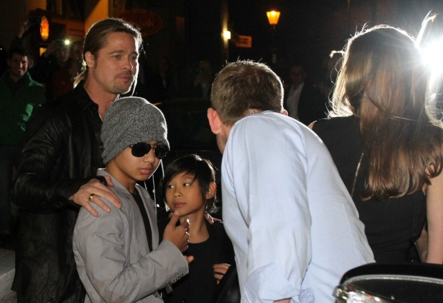 Brad, Angelina and Kids Dine at Kuchi Restaurant, Berlin,Germany..June 4th 2013 0442