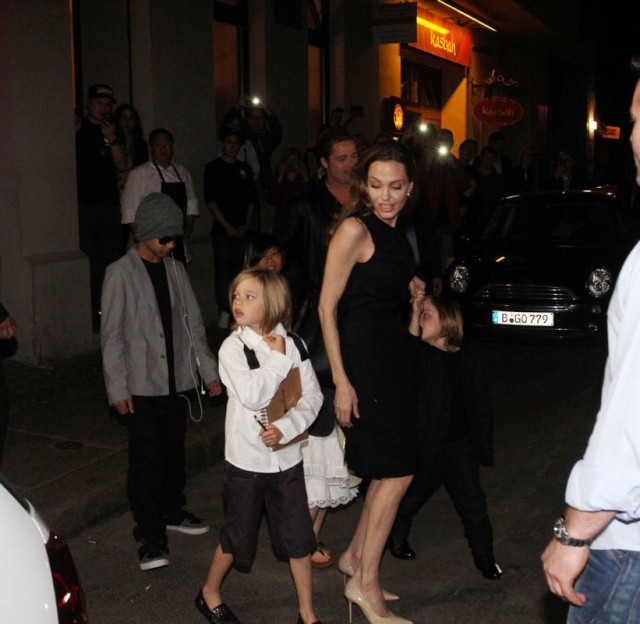 Brad, Angelina and Kids Dine at Kuchi Restaurant, Berlin,Germany..June 4th 2013 0628