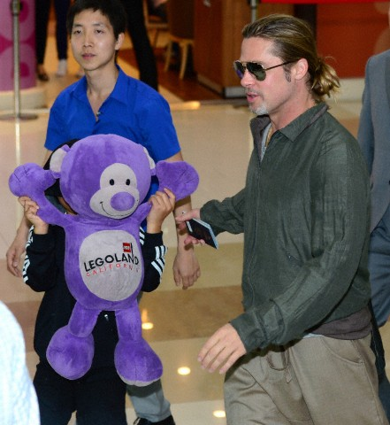 Brad and Pax arrive at Gimpo Airport..Seoul, South Korea, June 11th 2013 0_313