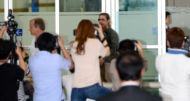 Brad and Pax arrive at Gimpo Airport..Seoul, South Korea, June 11th 2013 0_417