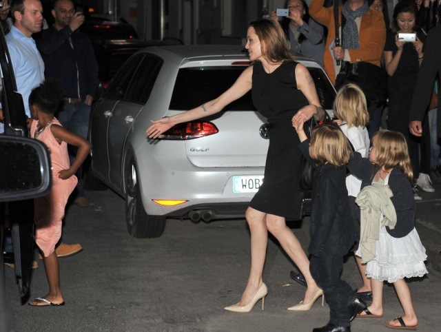 Brad, Angelina and Kids Dine at Kuchi Restaurant, Berlin,Germany..June 4th 2013 1720