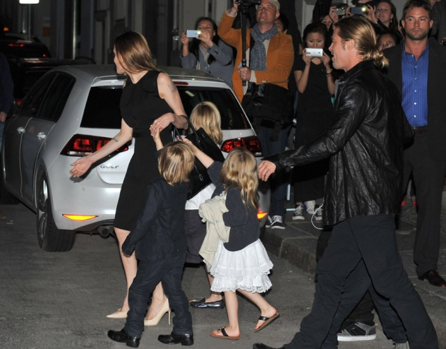 Brad, Angelina and Kids Dine at Kuchi Restaurant, Berlin,Germany..June 4th 2013 1819