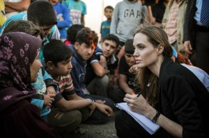 Angelina meeting with Refugees at the Jaber Border Crossing in Jordan..June 18th 2013 20082027