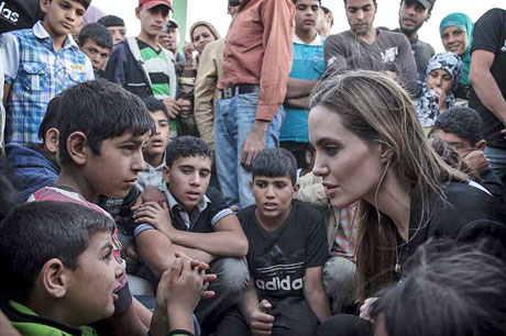 Angelina meeting with Refugees at the Jaber Border Crossing in Jordan..June 18th 2013 20082028