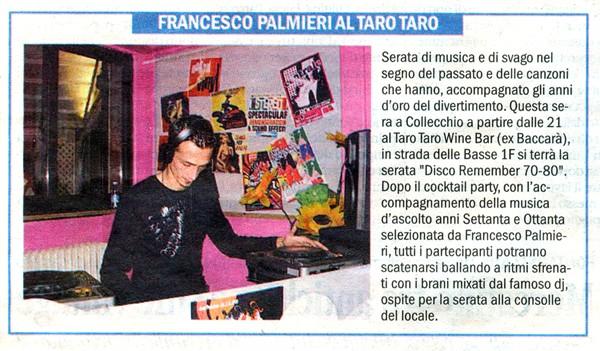 """Francesco Palmieri su """"L'INFORMAZIONE"""" di Parma 15 Novembre 2008 Artico11"""