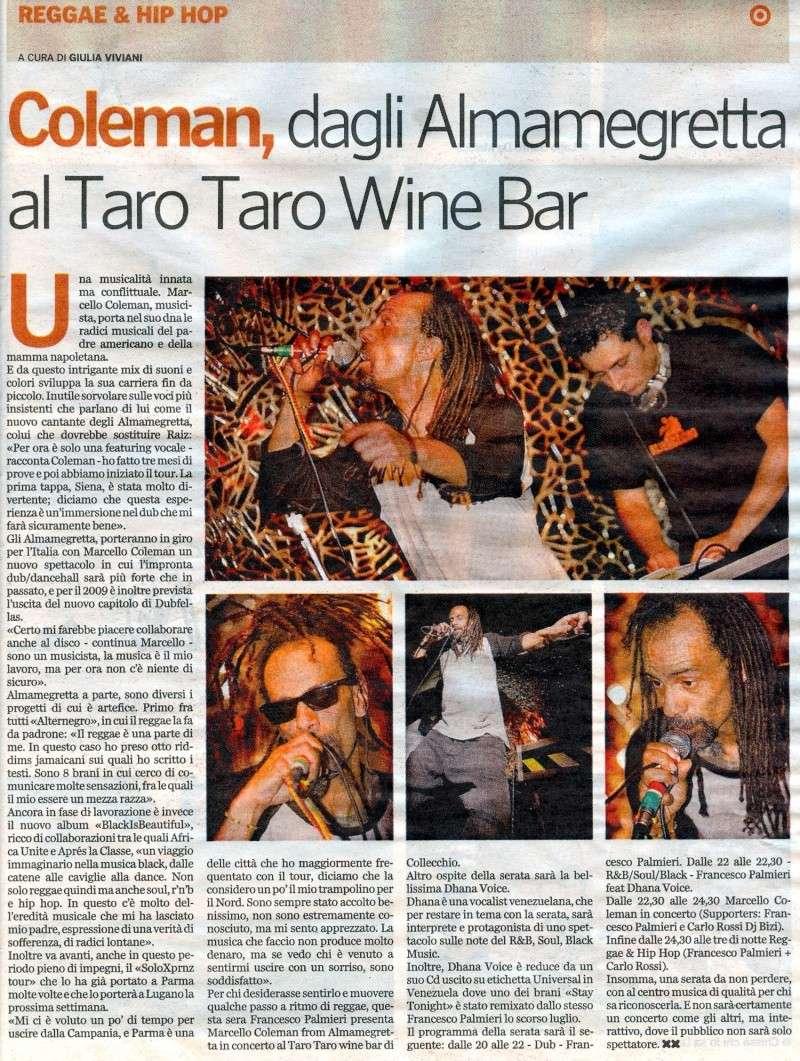 Francesco Palmieri e Marcello Coleman (voce degli Almamegretta) su Gazzetta di Parma 27 Marzo 2009 Artico13