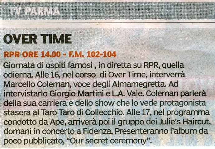 Francesco Palmieri e Marcello Coleman (voce degli Almamegretta) su Gazzetta di Parma 27 Marzo 2009 Artico15